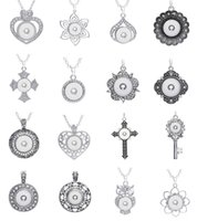 Wholesale Wholesale Crosses Metals - New 20PCS Lot Different Style Snap Charm Pendant Necklace Interchangeable Fit 18mm Ginger Snap Chunk Charm jewelry With 60cm Metal Chain