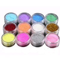 Wholesale Body Art Glitter Tattoo Colors - Wholesale-12 colors  lot Glitter Tattoo Body Glitter Powder Shimmer Glitter Tattoos Powder Colors Nail Art Acrylic Glitter Dust Decoration