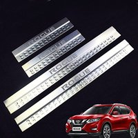 Wholesale door sill scuff plate nissan - Car Door Sills for Rogue Stainless Steel Door Sill Scuff Plates fit for Nissan Rogue 2014-2017