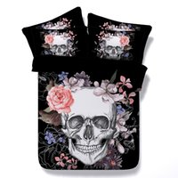 Wholesale King Black Floral Comforter - Black Skull And Flowers 3D Bedding Sets 4pcs Comforter Sets Tiwn Full Queen King Size Duvet Cover Bed Sheet Pillowcases cenery