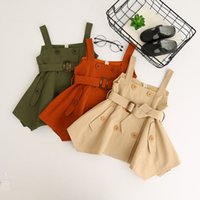 Wholesale Double Breast Girl Dress - Baby Girls Double Breasted Dresses Girls Fashion Suspender Dress Kids Girls Fashion Autumn Dress 2017 baby clothing