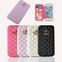 Новый роскошный заклепковый блеск Rhinestone Diamond Crown Case Flip Leather Wallet Cases Cover Phone Bag для iPhone 6 6S 7 Plus DHL