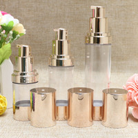 Wholesale Cosmetic Airless Pump Gold - Pale Gold Empty Cosmetic Container Airless Pump Plastic Bottles Makeup Tools Lotion Refillable Bottle 15ml 30ml 50ml F2017868