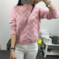 Wholesale Plaid Mohair - Wholesale-2016 Autumn Winter Women Pullover Sweaters Plaid Thick warm Knitting Sweaters Mohair Loose Variegated sweater