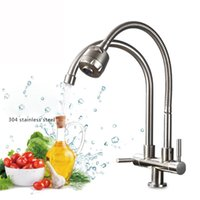 Wholesale Outlet Plate Double - 304 Stainless Steel Kitchen Faucet Single Cold Water Tap Universal Tube Double tube Faucets 360 Rotation 2 Water Outlet Taps