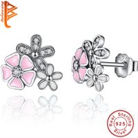 Wholesale 925 Studs - BELAWANG Wholesale Real 925 Sterling Silver Poetic Daisy Cherry Blossom Stud Earrings Mixed&Clear CZ Pink Flower Women Engagement Jewelry