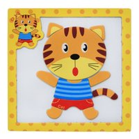 Vente en gros - 15 * 15 * 0.5cm Cartoon Animals Vehicle 3D Wooden Magnetic Puzzles Early Education Puzzles Educational Toys Hobbies. PY042