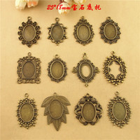 Wholesale Dragon Tray - Fit 25*18MM Oval-shaped metal stamping blank tray, leaf flower dragon charm pendant base, tibetan silver plated bezel cameo cabochon setting