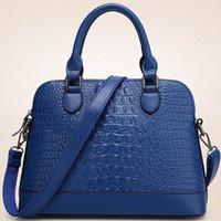 Wholesale Camel Hand Bag - New Alligator Pattern Leather Handbag Fashion Women Elegant Top Handle Tote Hand Bag Solid Color Ladies Shoulder Crossbody Leather Bag