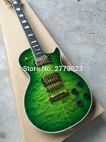 Wholesale Guitar Quilted Top - high quality Green burst color+body top AAA grade quilted flame+Ebony fretboard+top quality electric Guitar,Custom shop, Wholesale