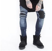 Wholesale Jeans Pant Folding - 2017 New the new trend of young men straight slim trousers knee protection motorcycle folding jeans male denim pants