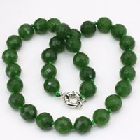 Wholesale Jade Faceted Beads 12mm - Free delivery 12mm faceted round beads chain necklace Taiwan natural stone green jade jasper choker charm statement women jewelry