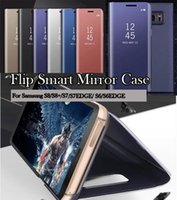 Wholesale Mirrors Covers - For Samsung Galaxy 2018 A7 A5 A8 A8Plus S7 Edge S8 Plus Note8 C10 Luxury Clear View Flip Case Chrome Mirror Phone Hard Stand Cover