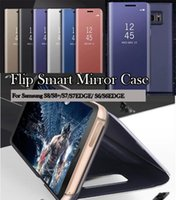 Wholesale For Samsung Galaxy S7 Edge S8 Plus S6 Note5 J5 J7 Prime On5 On7 Luxury Clear View Flip Case Chrome Mirror Cell Phone Hard Stand Cover