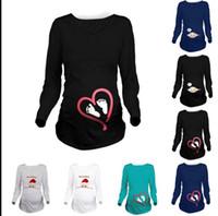 Wholesale Maternity Blouse Long Sleeves - Pregnancy clothes Women Maternity Clothes Funny Pregnant T-Shirt Tee Nursing Tops Blouse plus size Long Sleeve Christmas t-shirt KKA2510