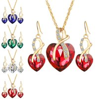 Wholesale red austrian crystal earrings - Red Blue Austrian Crystal Heart Pendant Necklace Earrings Jewelry Sets Gold Chain Women Bridesmaid engagement Wedding Jewelry Drop Shipping