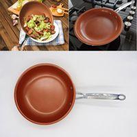 keramik-kochwerkzeuge großhandel-Neue Hochwertige Antihaft-Kupfer Pfanne mit Keramikbeschichtung Induktionskochen Ofen Pfannen Küche Esszimmer Werkzeug 10 Zoll WX-C63