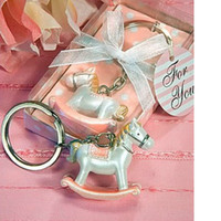 Wholesale Horse Baby Shower - Rocking horse keychain for baby born gifts wedding favor for guest Trojan key ring Baby Shower Gift WA2015