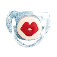 Wholesale Lips Baby Dummy - Wholesale-Infant Baby Funny Soother Pacifier Cute Little Lips Dummy Silicone Pacifier Baby Nipple Orthodontic Teeth Pacifier Care 2 Color