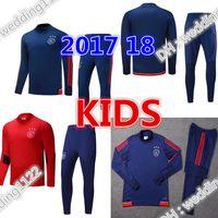 Wholesale Kids Long Jackets - children long sleeve Top qualit 17 18 Ajax kids football jacket tracksuit 2017 2018 Ajax Maillot de foot KLAASSEN MILIK jacket Training suit