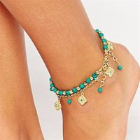 Lucky Kabbalah Fatima Anklet pour femme Hand Blue Flowers Foot Jewelry Double Perles Turkish Ankle Bracelet For Women Bretelle