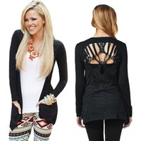Wholesale Thin Summer Sweaters - Wholesale- Skull Hollow Out Women Sweaters Knitted Long Sleeve Cardigans Spring Summer Thin Cardigans Sexy Blusas Mujer Body Top Plus Size