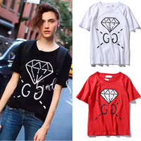 Wholesale Woman Top Fit Xl - Girl's Tops Diamond Logo Print BF Relax Fit Tshirt Female 2017 Hot Sale Nice Quality Cotton S S Round Collar Women's