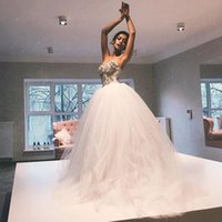 Wholesale Big Puffy Sexy Wedding Dresses - Princess Puffy Tulle Ball Gown Wedding Dresses 2017 Beading Sweetheart Bridal Gowns Bonine Big Dress For Wedding