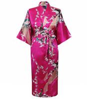 ingrosso abiti di seta faux-Plus Size Hot Pink Female Night Robe Vendita calda Lady Faux Silk Kimono Bath Gown Summer Sleepwear Peafowl S M L XL XXL XXXL S0034