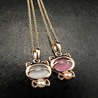 Wholesale eye pendants - Wholesale- Fashion Jewelry Lucky Cat Necklace Ladies Cat Eye Stone Stone Necklace Pendant Clavicle Chain Wholesale Sweater Chain Wholesale