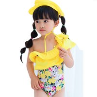 yellow swimming suit 2018 - classical banana style girls swimming suit with cap girls beautiful choose children tutu swimming suit DHL for free shipping I201663001