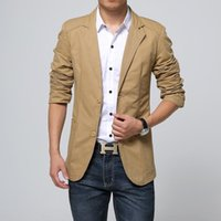 Wholesale Small Breast Men - Wholesale- The new autumn outfit 2016 small blazer men's cultivate one's morality Qiu dong season leisure cotton blazer