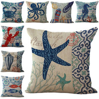 Wholesale Coral Cushions - Mediterranean style Seastar Seahorse Conch Coral Pillow Case Cushion cover Linen Cotton Throw Pillowcases sofa Bed Pillowcover Drop shipping