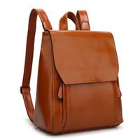 rucksack aus leder für mädchen großhandel-Frauen Mädchen Mode Rucksäcke Studenten Schultaschen Satchel PU Leder England Stil Rucksack Lady Reisetaschen Rucksäcke