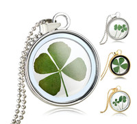Wholesale Long Clover Necklaces Wholesale - Wholesale-Natural Clover Floating Dried Flowers Pendant Necklaces Jewelry For Women Round Glass Silver Gold Plated Chain Long Necklaces