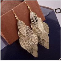 Wholesale Gold Willow - mottled grain willow long earrings multi-level frosted leaf earrings we have two colors shipping free
