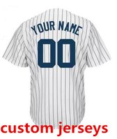Wholesale Cheap Yankees Jersey - Wholesale Cheap Baseball Jerseys Custom Made Yankees Jersey Customized Embroidered Personalized Name Number Team Logo