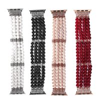 Wholesale Elastic For Jewelry - Fashion Handmade Elastic Faux Pearl Beaded Watch Band for Apple Watch Series 2 Series 1 iWatch 42mm 38mm Bangle Bracelets Jewelry Bands