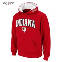 Wholesale Fleece Outlet - Wholesale-2016 New Fashion Classical Indiana University Hoodies Men Hooded Sweatshirt Factory Outlet Red Hoodies