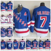 tige bleue achat en gros de-Rangers de New York Hockey 1 Eddie Giacomin 4 Ron Greschner Bleu 7 Rod Gilbert White 9 Adam Graves 35 Maillot Mike Richter