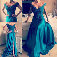 Wholesale Turquoise Blue Short Prom Dresses - 2017 Sexy New Turquoise Prom Dresses Sweetheart Cap Sleeves Lace Appliques Beaded Side Split Long Evening Dress Party Pageant Formal Gowns