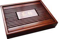 Wholesale Chinese Bamboo Tray - Chinese Kung Fu Tea Set Natural Wood Bamboo Tea Tray Rectangular Red&Brown wood Puer Chahai Tea Table Hot sale