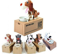 Wholesale Box Puppy - NEW Choken Puppy Hungry Eating Dog Kids Coin Bank Money Saving Box Christmas Gift