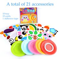 Multicolor paint trays - Kids Puzzle Creative paper tray Sticker DIY handmade stickers D painting Child DIY interactive toys Christmas gifts