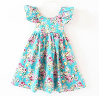 Wholesale Holiday Clothing Girl - Australia Style 2017 Summer New Girl Dress Flare Sleeve Floral Backless Holiday Beach Dress Children Clothing H0108