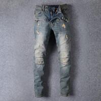 Wholesale Mens Skinny Denim Shorts - Men's Distressed Ripped Skinny Jeans Fashion Designer Mens Shorts Jeans Slim Motorcycle Moto Biker Causal Mens Denim Pants Hip Hop Men Jeans