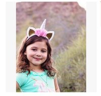 Wholesale Hair Hoops For Girls - Unicorn Hair Accessories Girl Horn Hair Hoop with Flowers Children Hair Accerssory Decorative Glitter Ears for Girls DHL Free Shipping