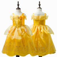 Midi Satin Dress online - Fashion halloween cosplay costume kids midi princess belle costume gold party dress for girls kids free shipping