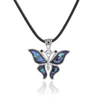 Wholesale Abalone Butterfly Pendants - New fashion animal necklace design sterling silver plated butterfly abalone shell pendant necklace for women jewelry