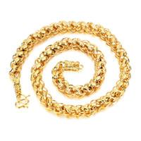 collar de cadena de oro 18kgp al por mayor-Collar de cadena de eslabones de acero inoxidable chapado en oro de 18KGP de hombres pesados grandes con estilo Hip Hop de corchete de dragón